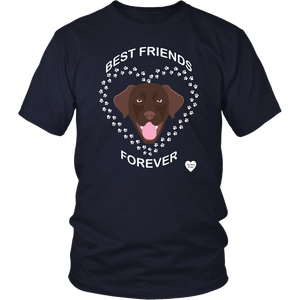 Chocolate Lab Best Friends Forever T-Shirt Navy