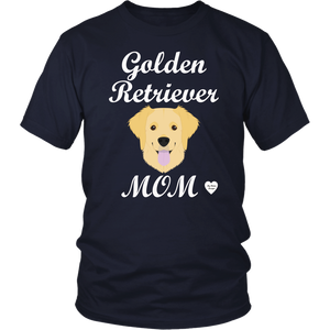 golden retriever mom navy t-shirt