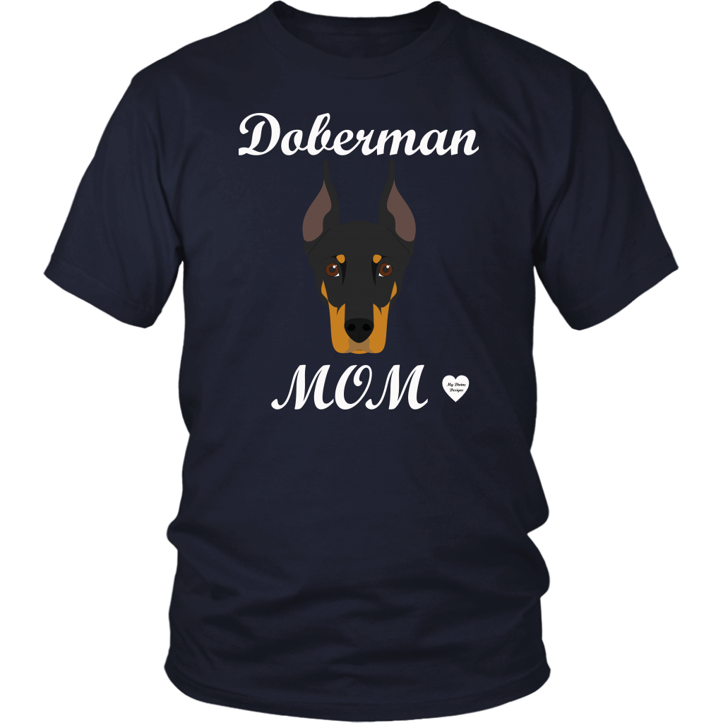 doberman mom navy t-shirt