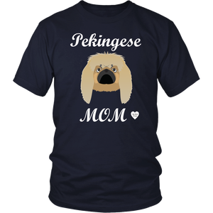 pekingese mom t-shirt navy
