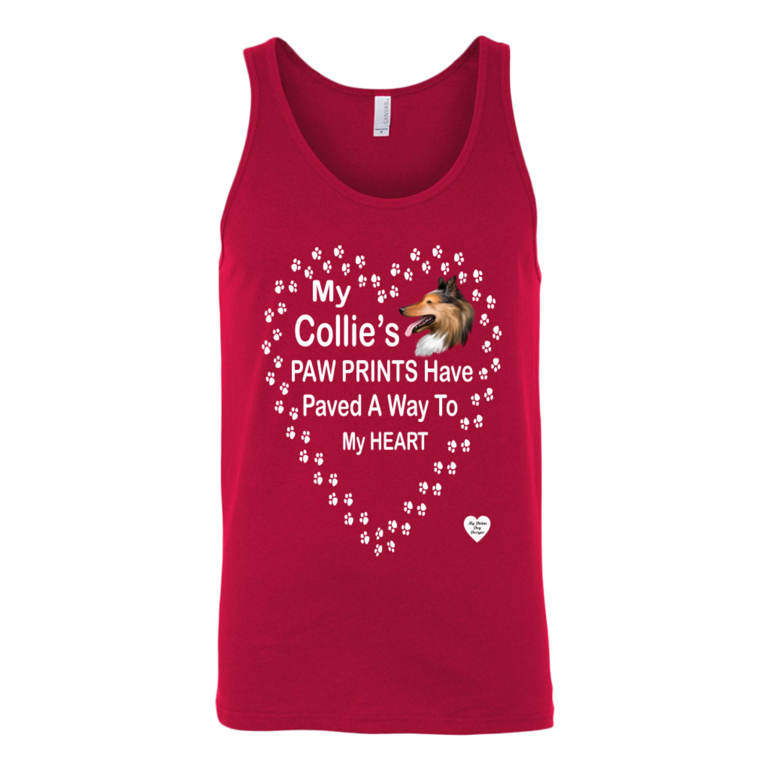 My Collie's Paw Prints Tank Top Red