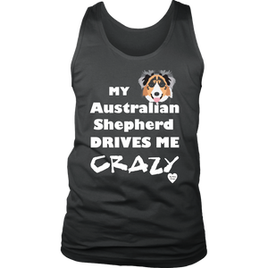 australian shepherd drives me crazy men's tank top charcoal