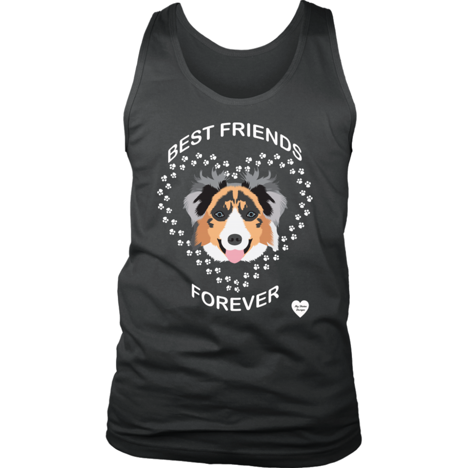 australian shepherd best friends tank top charcoal