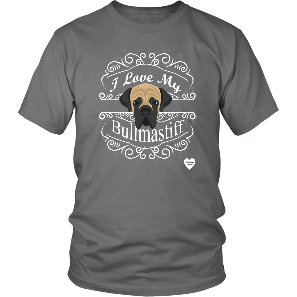 I Love My Bullmastiff T-Shirt Grey