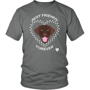 Chocolate Lab Best Friends Forever T-Shirt Grey