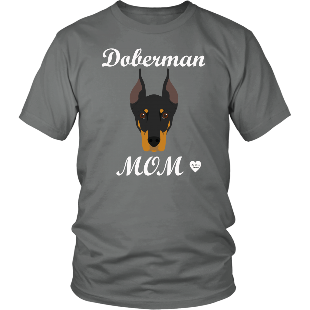 doberman mom grey t-shirt