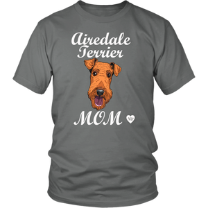 airedale terrier mom t-shirt grey
