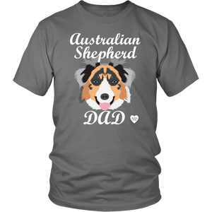 australian shepherd dad t-shirt grey