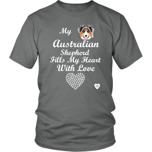 australian shepherd fills my heart t-shirt grey