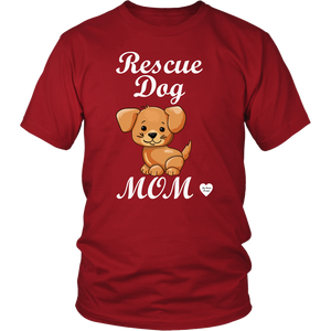 rescue dog mom t-shirt red