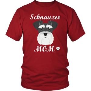 Schnauzer Mom red t-shirt