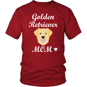 golden retriever mom red t-shirt