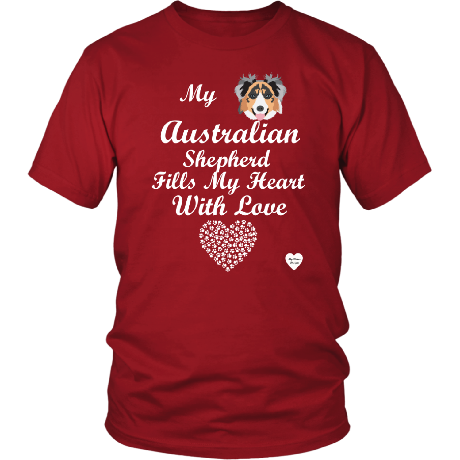australian shepherd fills my heart t-shirt red