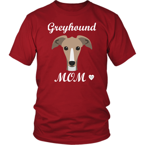 greyhound mom red t-shirt