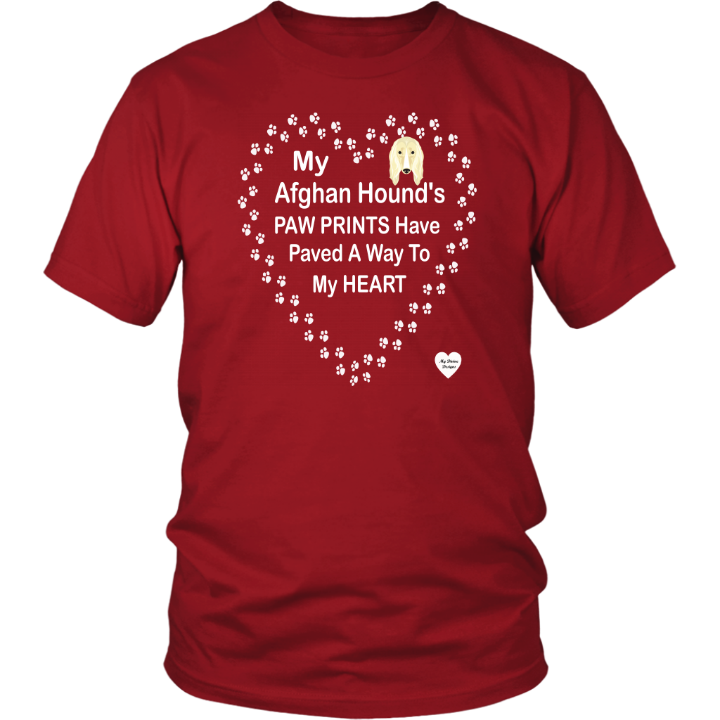 My Afghan Hound's Paw Prints T-Shirt Red