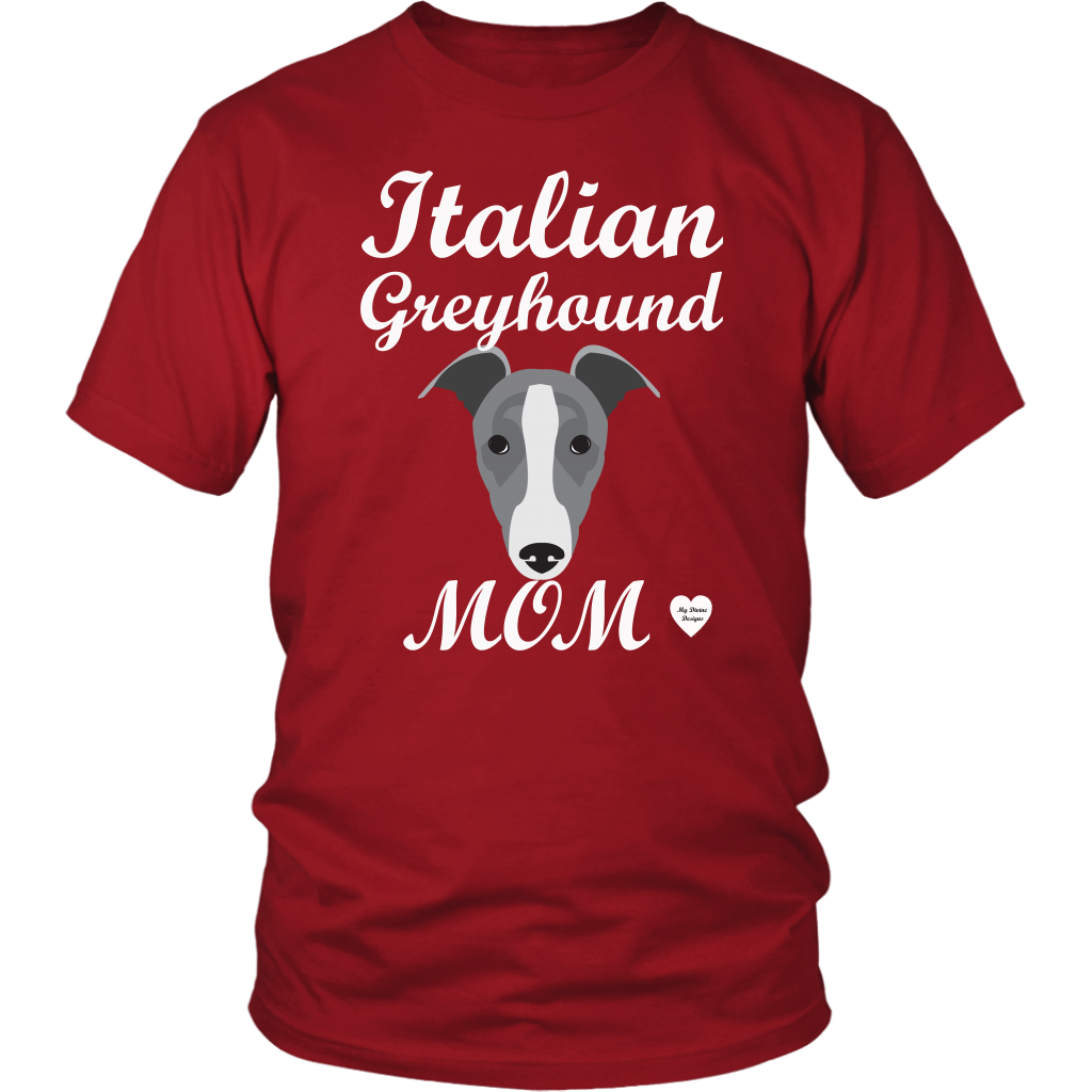 italian greyhound mom red t-shirt