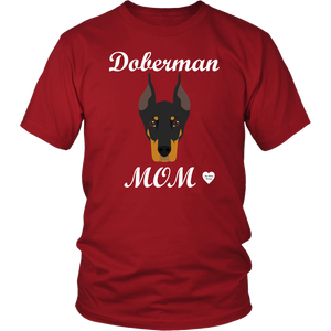 doberman mom red t-shirt