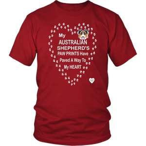 australian shepherd paw prints t-shirt red