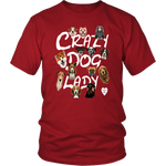 Crazy Dog Lady With Dogs T-Shirt Red