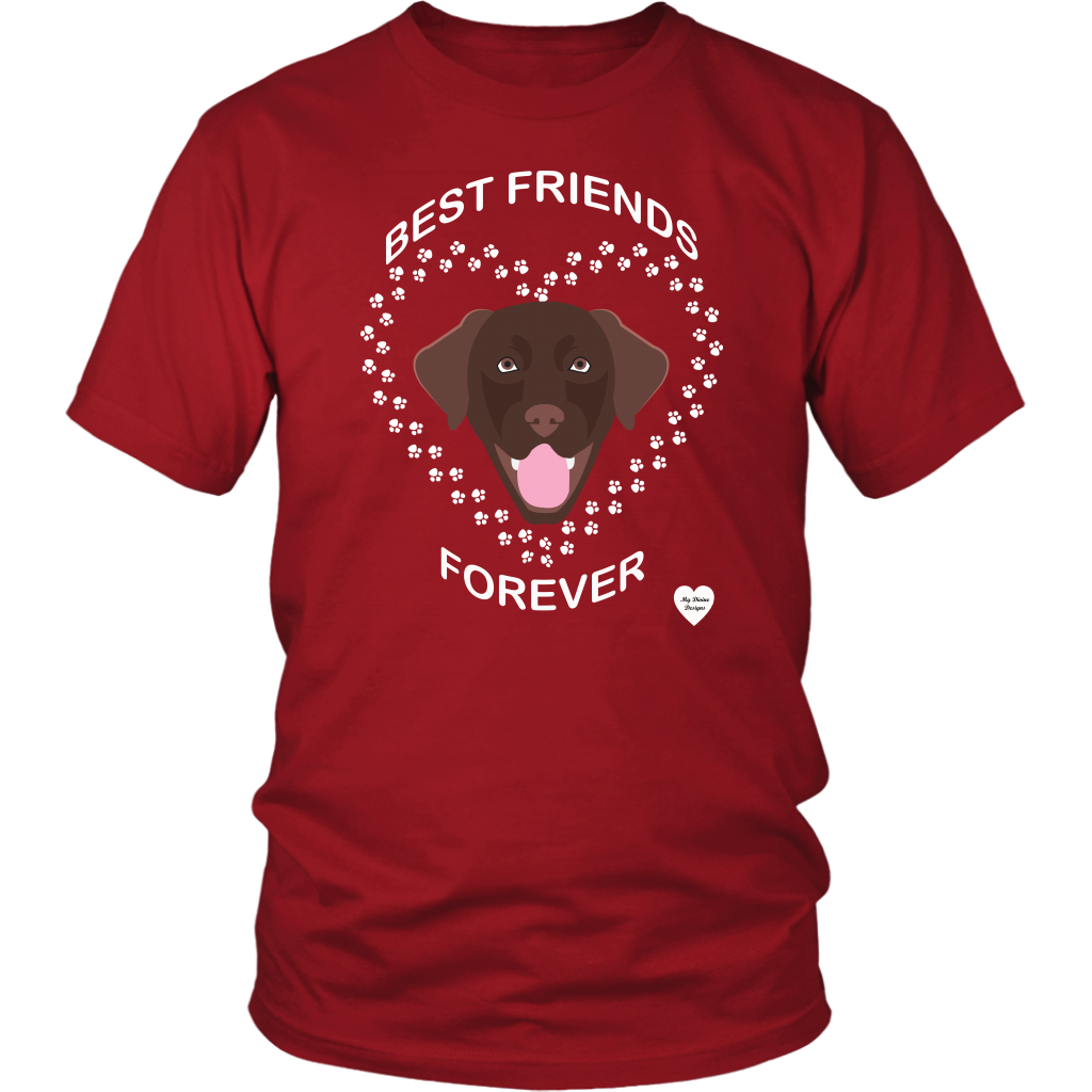 Chocolate Lab Best Friends Forever T-Shirt Red