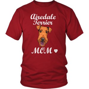 airedale terrier mom t-shirt red