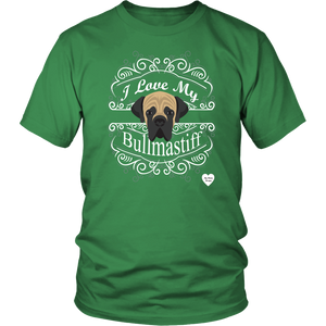 I Love My Bullmastiff T-Shirt Kelly Green