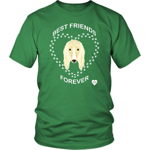 Afghan Hound Best Friends Forever T-Shirt Kelly Green