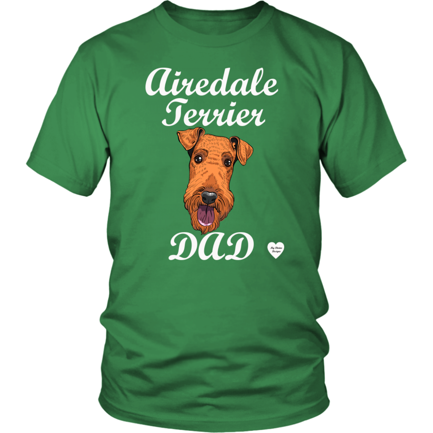 Airedale Terrier Dad T-Shirt Kelly Green