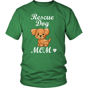 rescue dog mom t-shirt kelly green