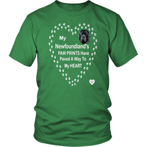 My Newfoundland's Paw Prints T-Shirt Kelly Green