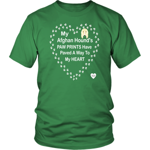 My Afghan Hound's Paw Prints T-Shirt Kelly Green