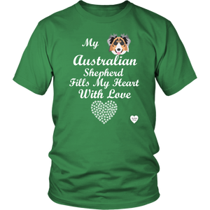 australian shepherd fills my heart t-shirt kelly green