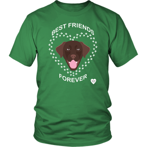 Chocolate Lab Best Friends Forever T-Shirt Kelly Green