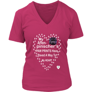 Affenpinscher Paw Prints V-Neck Dark Fuchsia