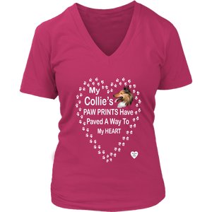 My Collie's Paw Prints V-Neck Dark Fuchsia
