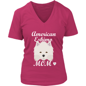 American Eskimo Mom V-Neck T-Shirt Dark Fuchsia