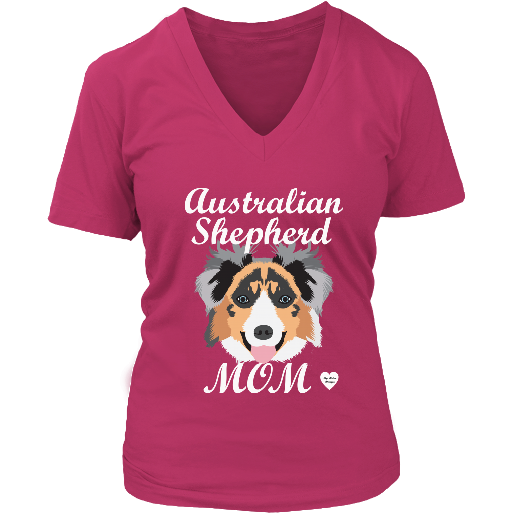australian shepherd mom shirt dark fuchia