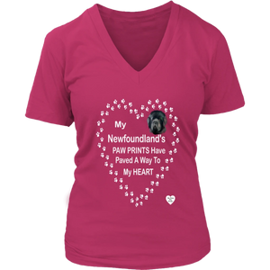 My Newfoundland's Paw Prints V-Neck Dark Fuchsia