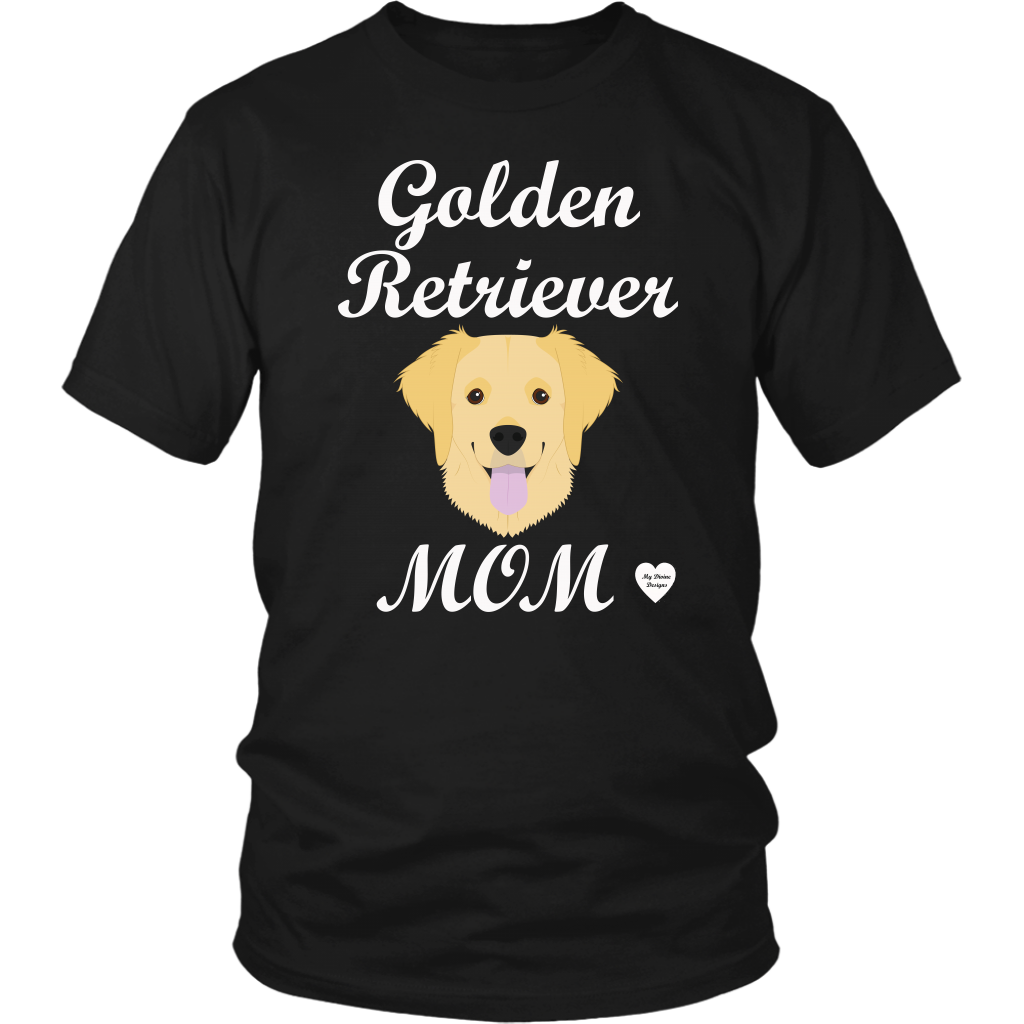 golden retriever mom black t-shirt