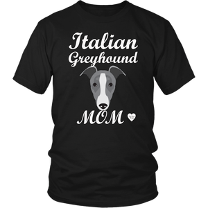italian greyhound mom black t-shirt