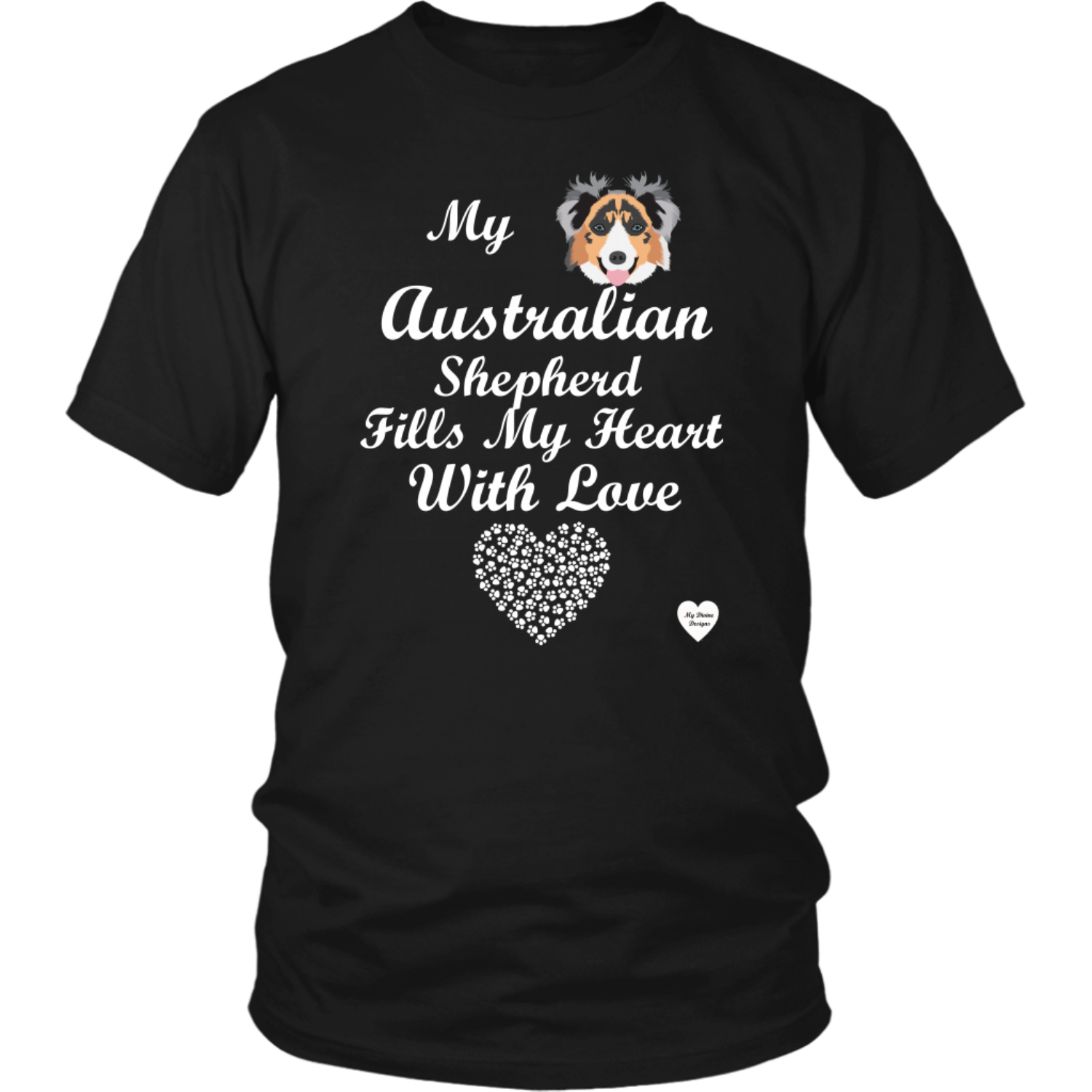 australian shepherd fills my heart t-shirt black