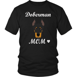 doberman mom black t-shirt