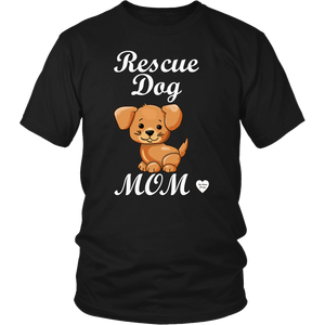 rescue dog mom t-shirt black