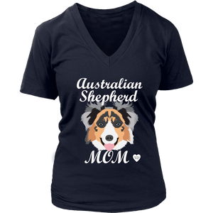 australian shepherd mom shirt navy