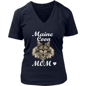 Maine Coon Mom V-Neck Navy