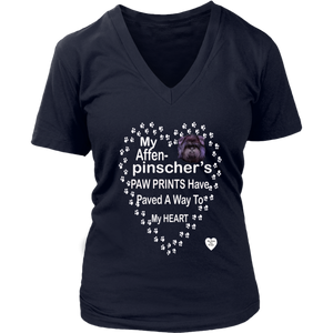 My Affenpinscher Paw Prints V-Neck Navy
