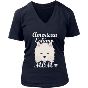 American Eskimo Mom V-Neck T-Shirt Navy