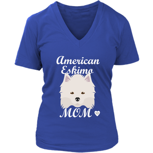 American Eskimo Mom V-Neck T-Shirt Royal Blue