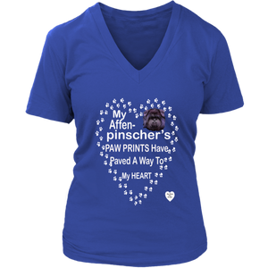Affenpinscher Paw Prints V-Neck Royal Blue