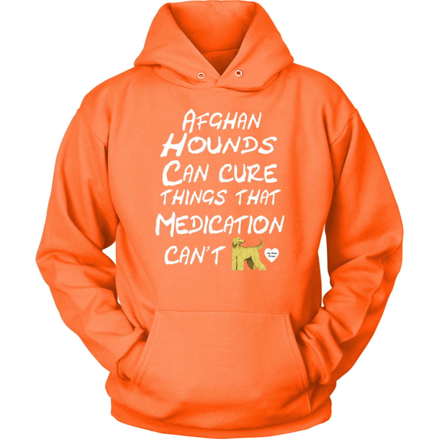 Afghan Hound Can Cure Hoodie Neon Orange